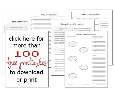 Free printables for organizing