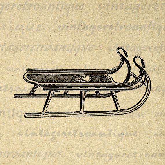 Digital Graphic Antique Sled Download Image Printable Artwork