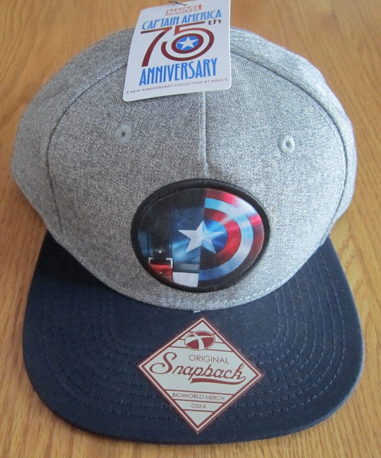 7c23b2efb35 Captain America Civil War Shield Snapback Hat Marvel Comics - Gray ...
