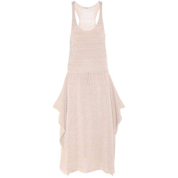 Stella McCartney Sleeveless Dress (€1.350) ❤ liked on Polyvore featuring dresses, beige, pink sleeveless dress, beige dress, stella mccartney dresses, no sleeve dress and pink dress