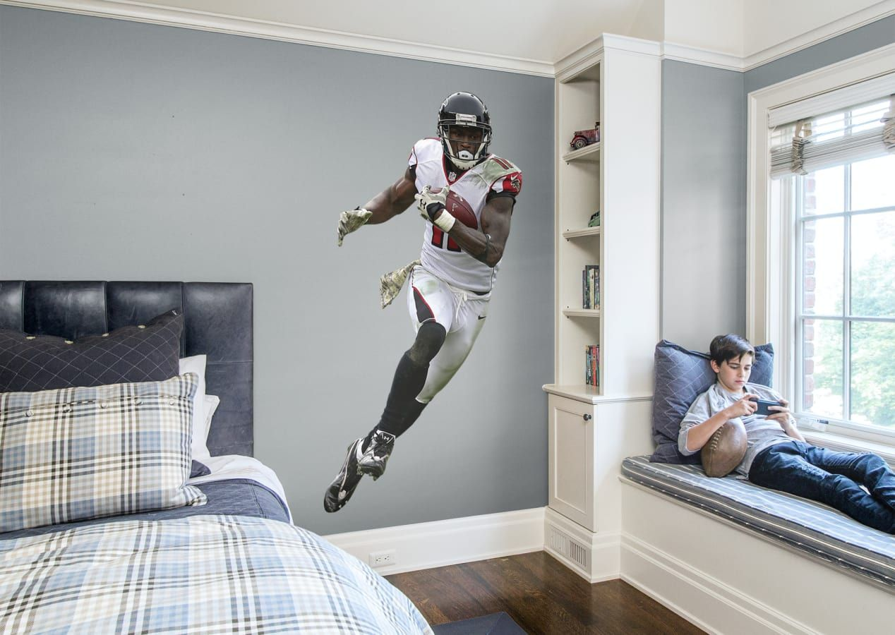 Football Bedroom Life Size Julio Jones Of The Atlanta Falcons Visit Us And Follow Us On Pinterest For All Julio Jones Removable Wall Decals Sports Room Boys