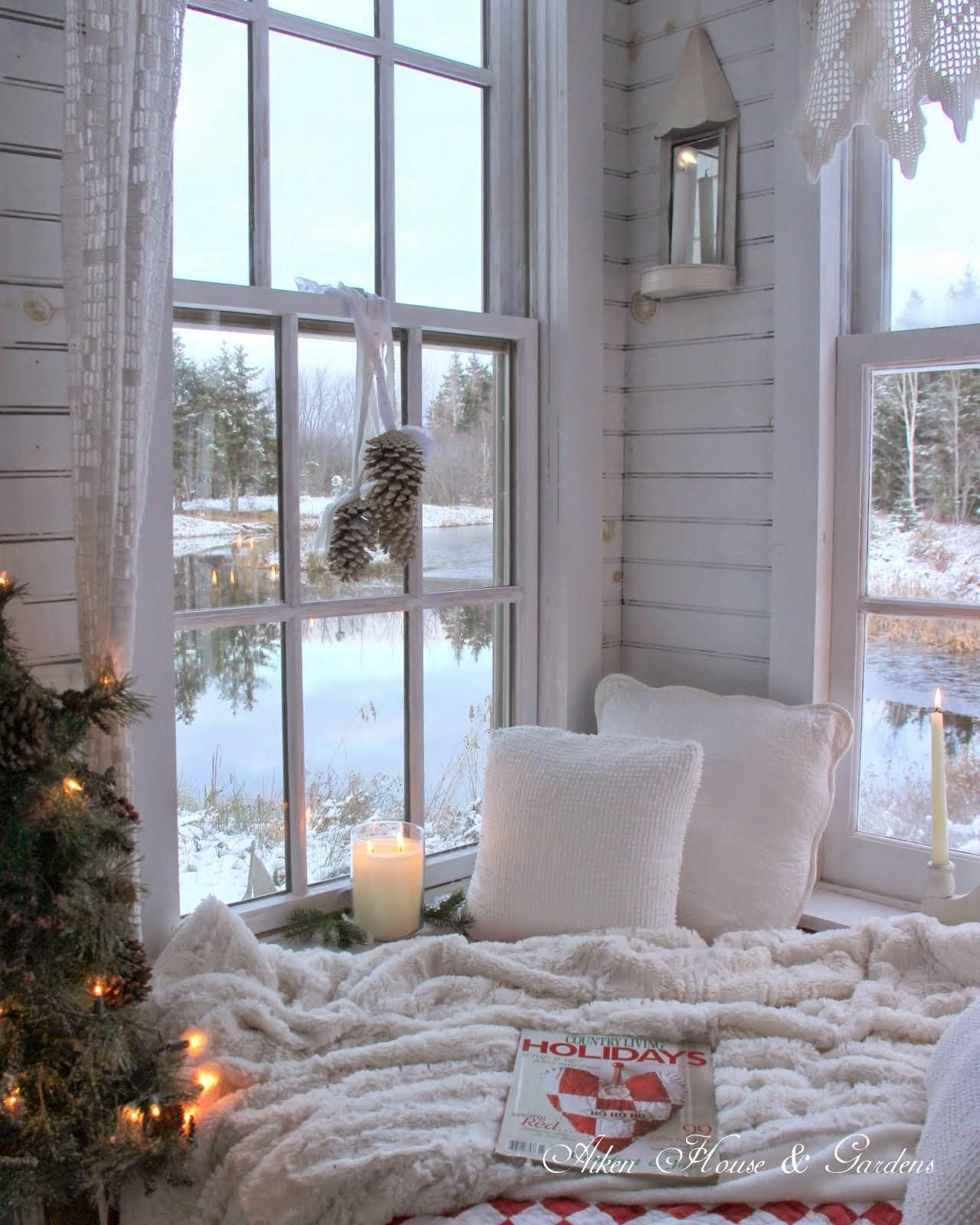 A cozy winter reading nook Seasonal