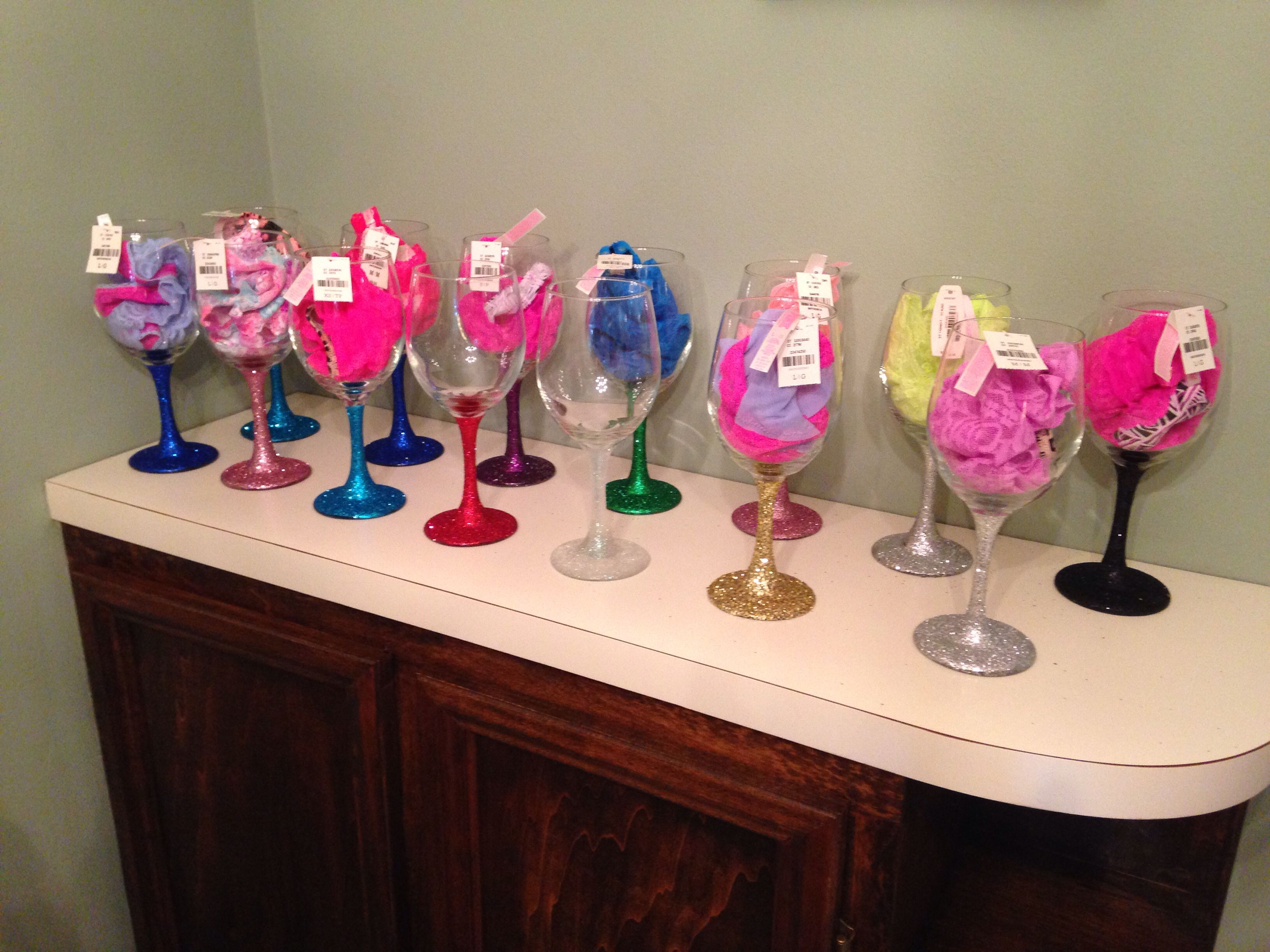 Champagne, sparkle, & sexy bridal shower- glitter wine glass favors with panties inside