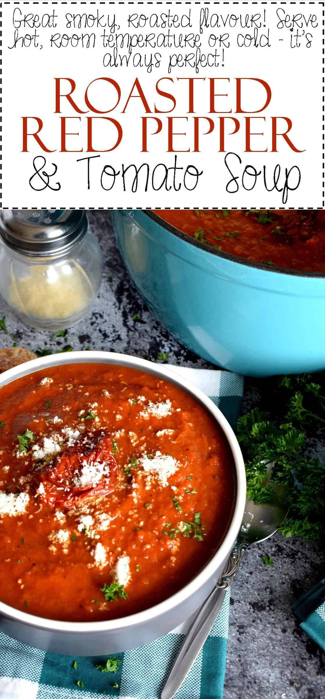 Roasted Red Pepper And Tomato Soup Tomato Soup Recipes Stuffed Peppers Tomato Red Pepper Soup