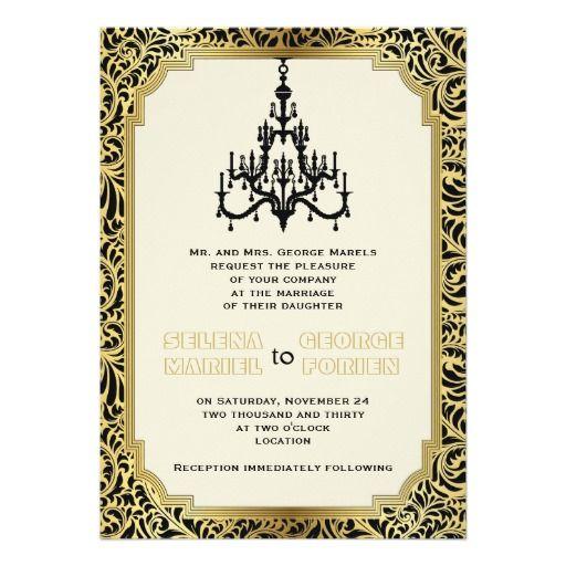 "Art Deco chandelier black, gold wedding 5"" X 7"" Invitation Card"