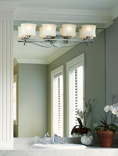Transitional light fixture mounted on a mirror.