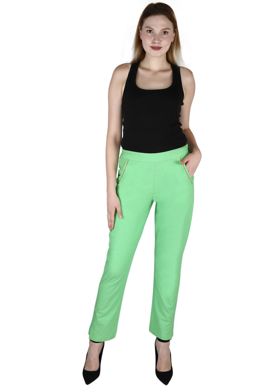Green Cotton Bottom Trouser Trousers For Girls Green Cotton