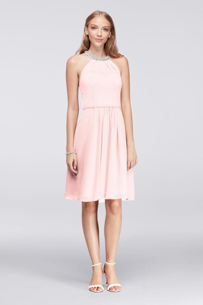 Short Chiffon Dress With Beaded Illusion Neckline