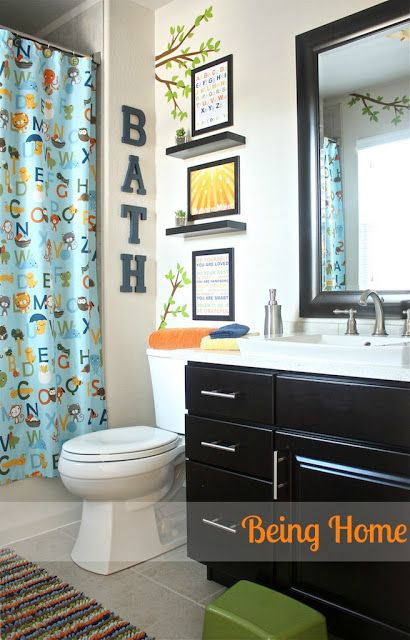 Kids Bathroom Decor Ideas ~ Being Home - Boy Bathroom Makeover. ABC and  nature theme using Ikea and Target decor.