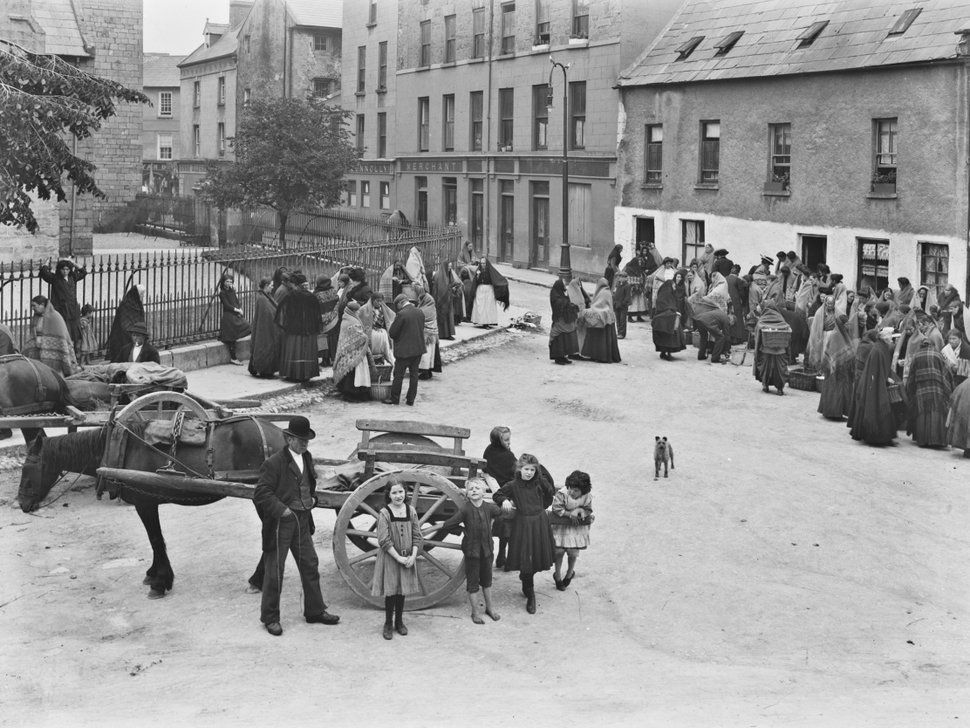 Market day in Galway. Image taken from the Eason collection. Early 1900s