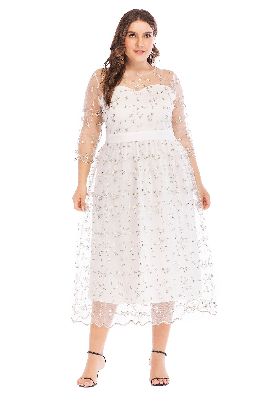 57830bd45a5 ESPRLIA Women s Plus Size High-Neck Illusion Sweetheart Long Prom Evening  Dress