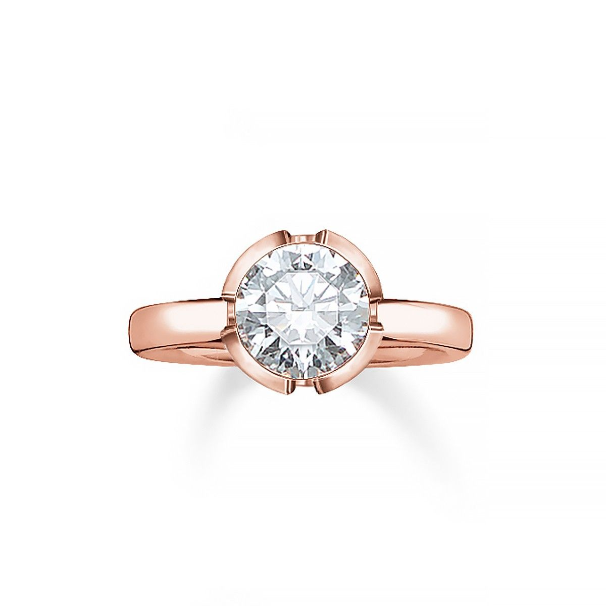 Thomas Sabo White Zirconia Sterling Silver Rose Gold Plated Ring 129 Engagement Rings Rose Gold Plated Ring Thomas Sabo