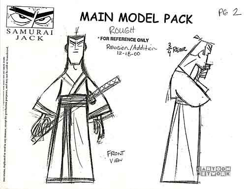 Art Of Animation Penciltests Model Sheet Monday Samurai Jack