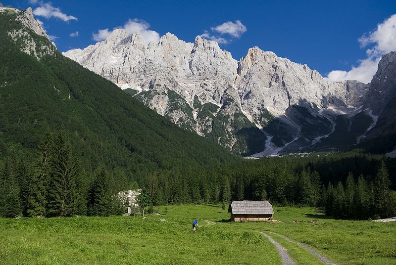 Alpine valley of Krnica near Kranjska Gora, Slovenia. The highest peak (in the clouds) in the picture is Škrlatica.