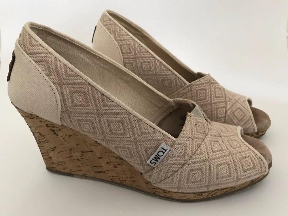 de96dd7f2b4f TOMS Calypso Canvas Espadrille Wedge Size 7.5M Shoes Diamond Tan Peep Open  Toe  Toms  PlatformsWedges  Casual