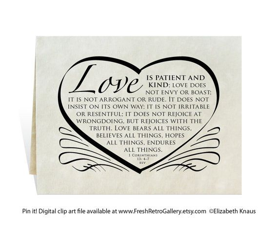 Love Is Patient And Kind Verse For Wedding Or Home Decor Digital Art Prints From Your Computer So You Always Have A Card On Hand