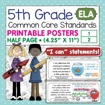 Common Core Standards I Can Statements For 5th Grade ELA