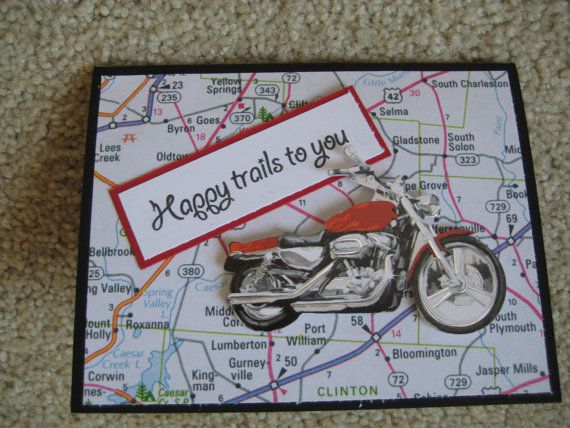 "Handmade Motorbike biker road map Happy Birthday card 6/"" square 9 colour options"