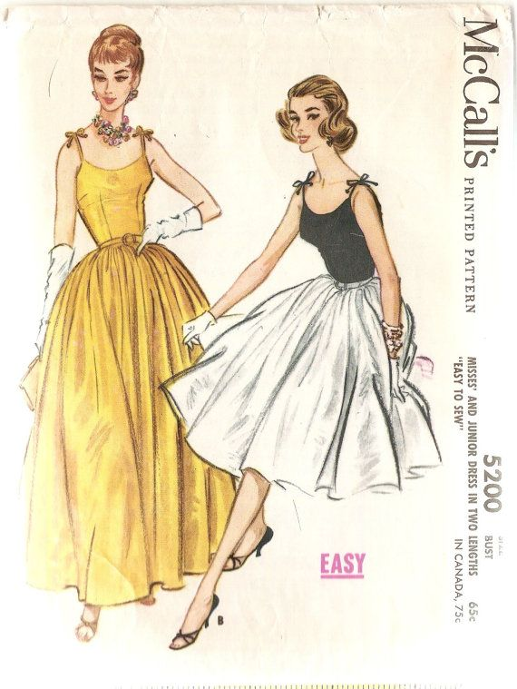 Vintage 1950s Evening Gown Sewing Pattern McCalls 5200 Full Skirt ...