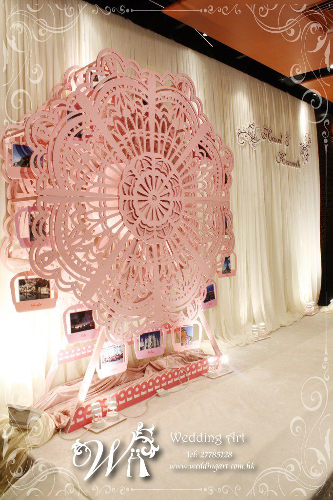 Ferris wheel with photos on stage back drop  gorgeous From Wedding Art Decoration in HK