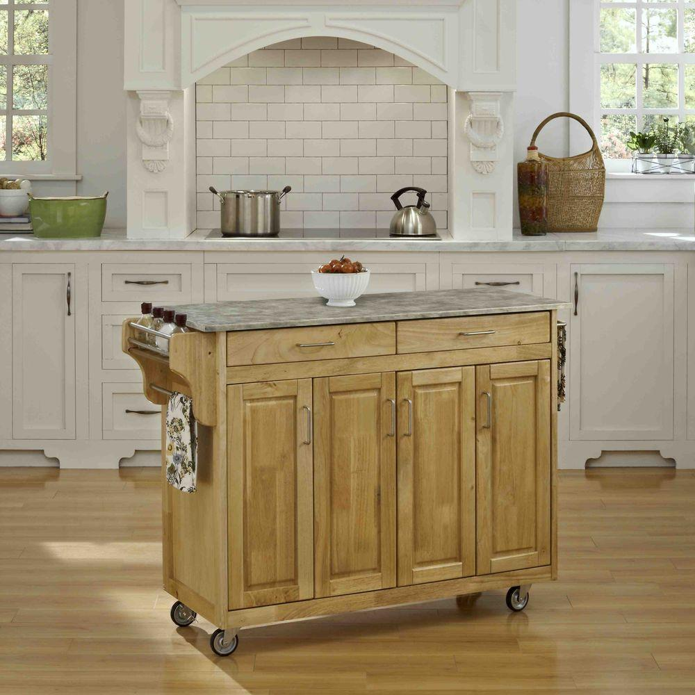 Homestyles Create A Cart Natural Kitchen Cart With Concrete Top