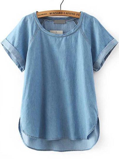 Chambray Blue Short Sleeve Dip Hem Boyfriend Trends Jean Swish Denim Blouse -SheIn(Sheinside) Mobile Site