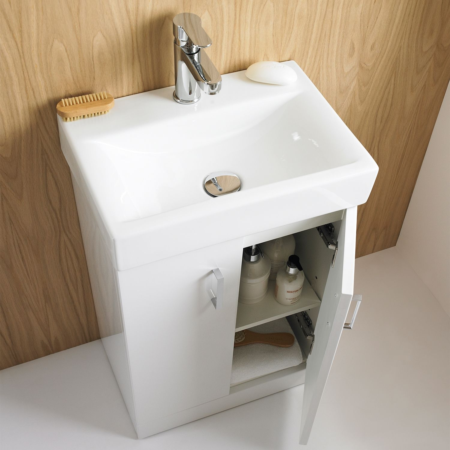 Premier Checkers White Floor Standing Vanity Unit With Basin 460mm