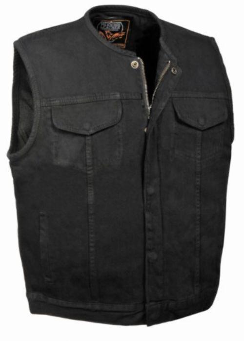 Black Denim Biker Club StyleVest with Leather Trim /& Side Lacing Medium