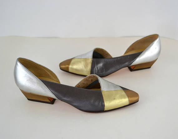 Vintage Metallic Kitten Heel