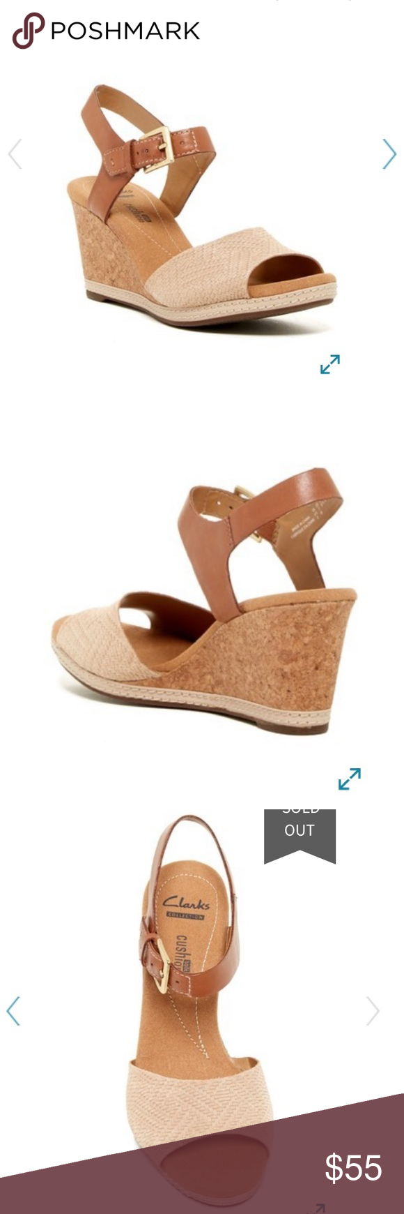 695e62a1a568 Clarks Helio Jet Ankle Strap Wedge NWOT Color  Nude Suede Box Included A  suede woven