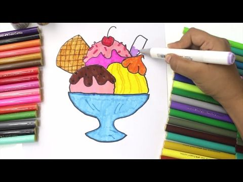 2) Ice Cream Coloring Pages Drawing And Art Colours For Kids With Colored  Markers - YouTube Coloring For Kids, Ice Cream Coloring Pages, Colouring  Pages