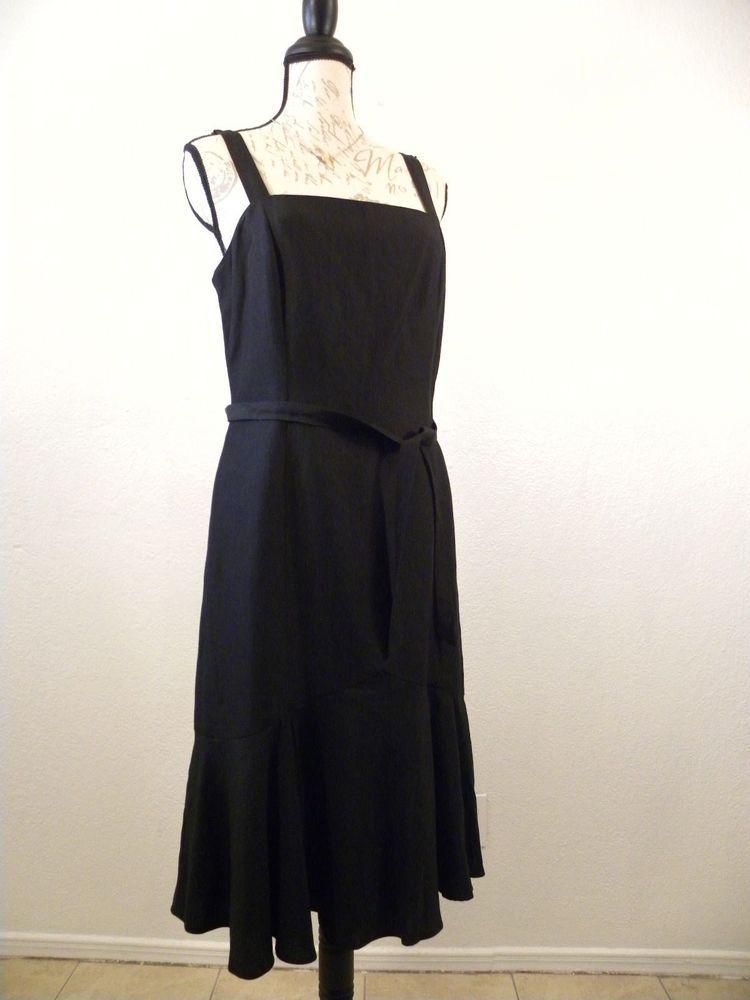 50658a9c9c Ann Taylor Loft Black Dress Size 8 Summer Linen Sleeveless Peplum Lined  Belt  AnnTaylorLOFT  SheathDress  Casual