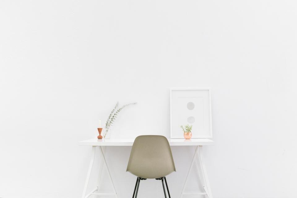 office, desk, chair, white, decor, design, creative, white, business, work, room, wall