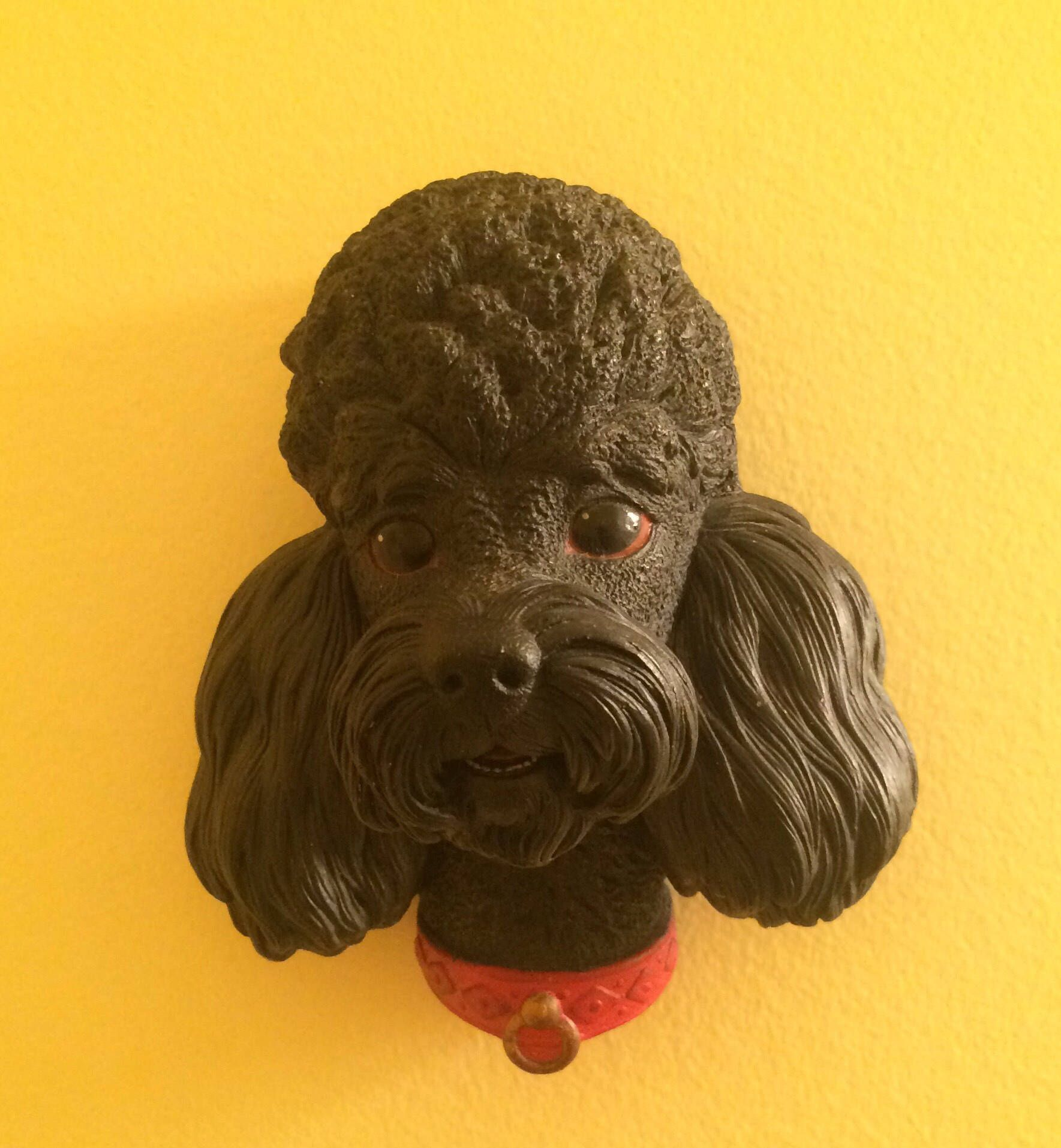 Bossons Black Poodle Chalkware 1960 Wall Sculpture Art Dog Dogs