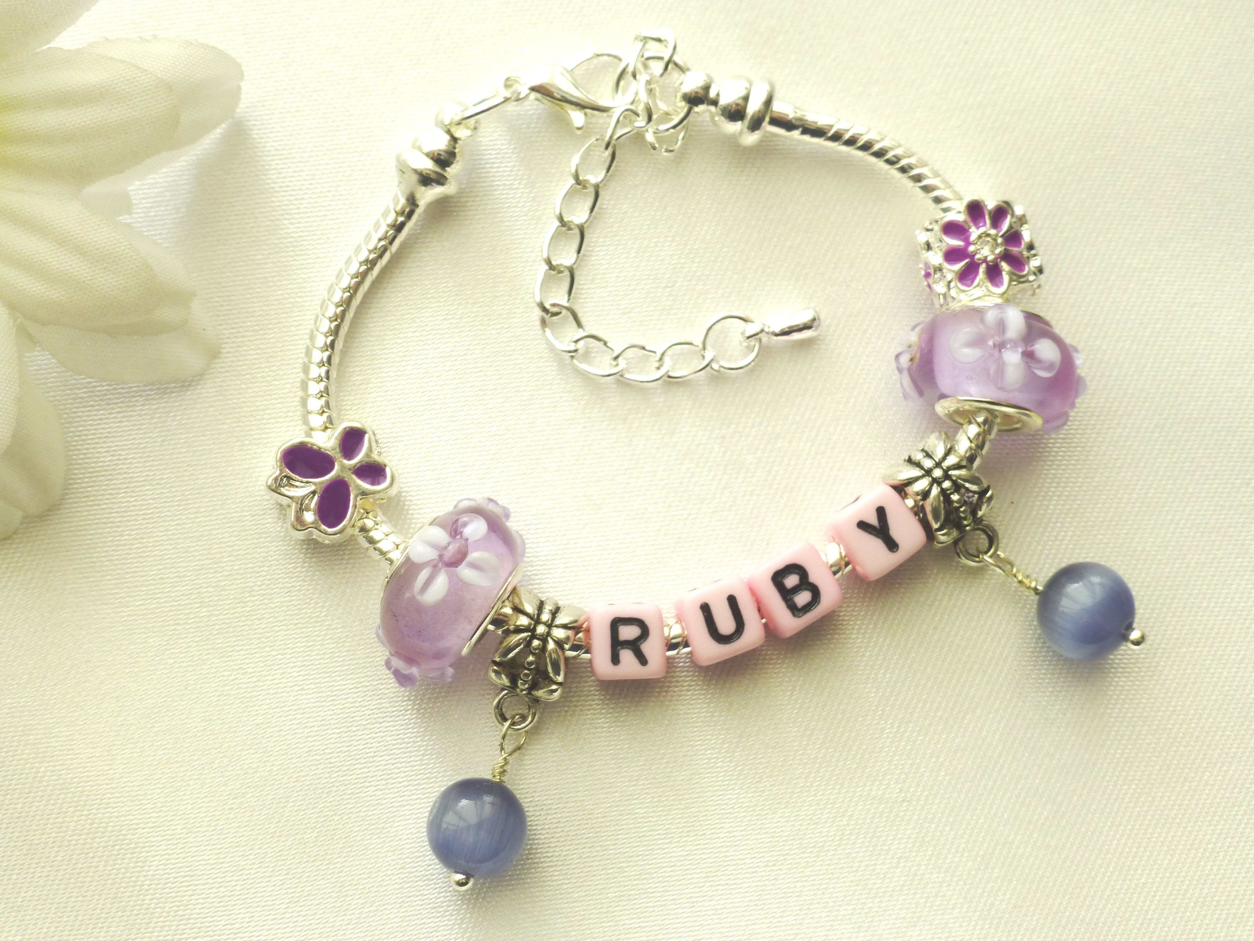 Purpal Charms & Pink Letter Blocks Name Charm Braceletplete With Charms   To View All