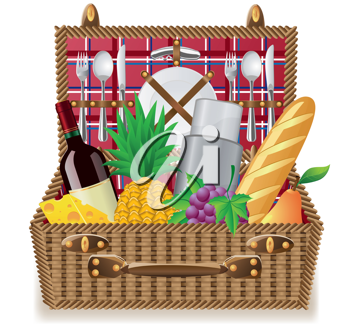 Iclipart Basket For A Picnic With Tableware And Foods Vector Illustration Picnic Royalty Free Clipart Clip Art