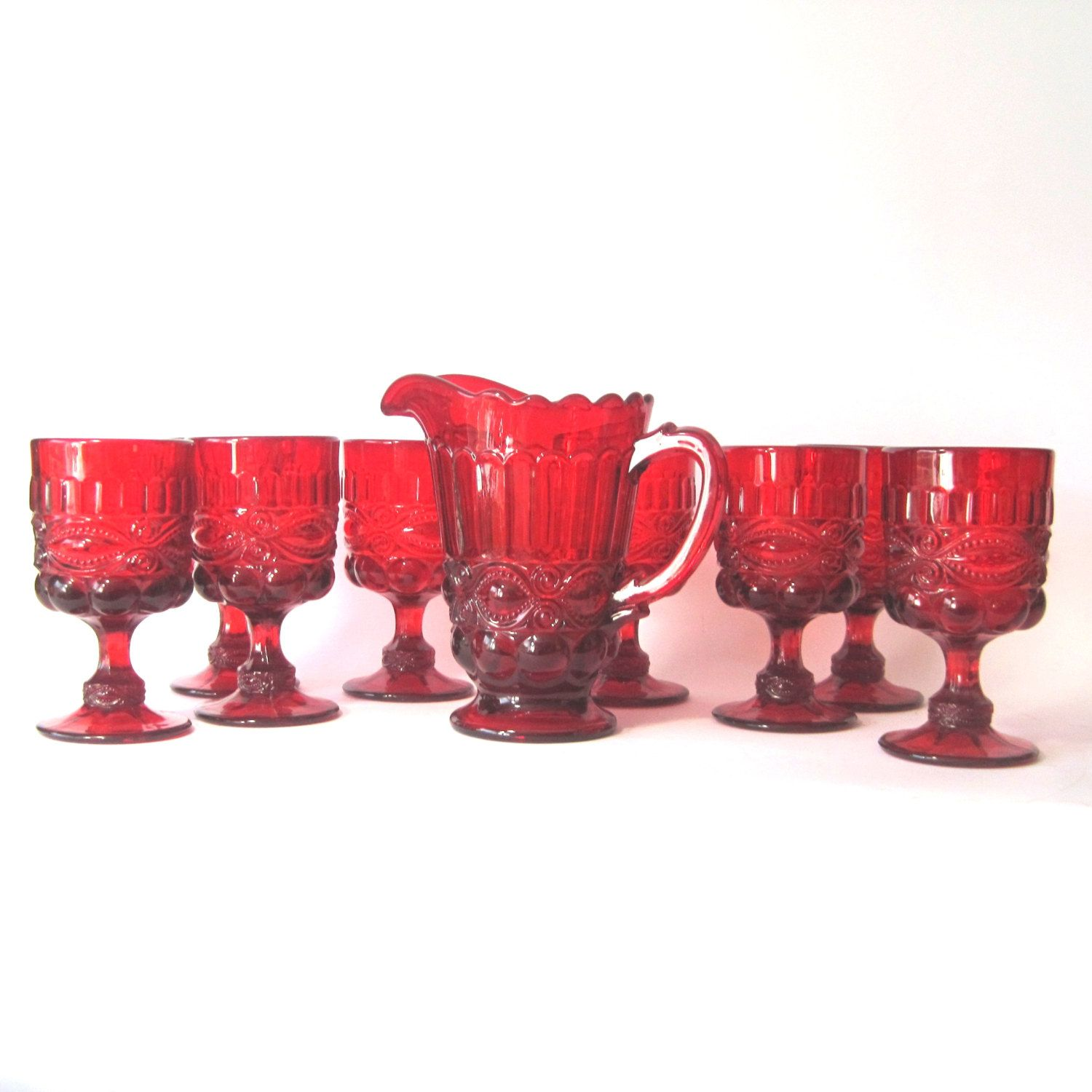 Vintage Ruby Red Eyewinker Pitcher And 8 Goblets By Lg Wright Vintage Goblets Antique Glass Red Glass