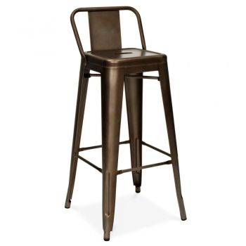 Tolix Style Metal Bar Stool With Low Back Rest Rustic 65cm Cult Uk