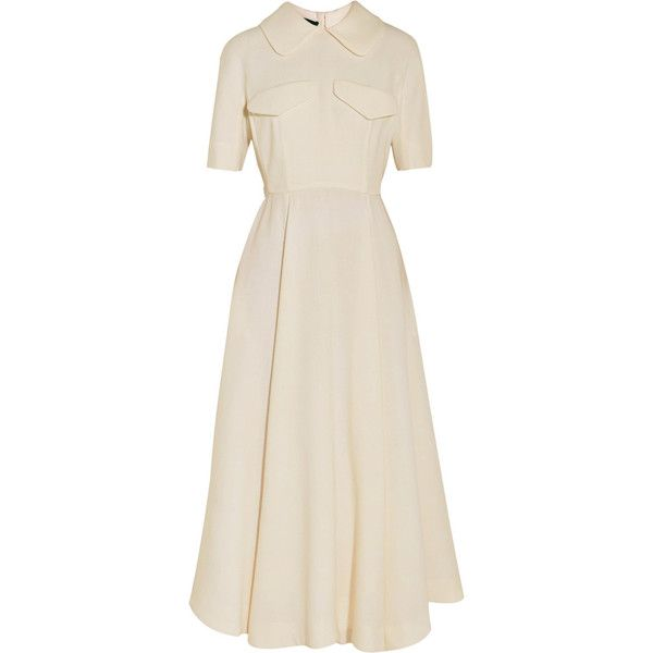 Emilia Wickstead Wool-crepe midi dress (14.395 ARS) ❤ liked on Polyvore featuring dresses, ivory, loose fitting dresses, ivory midi dress, zipper dress, winter white dress and calf length dresses
