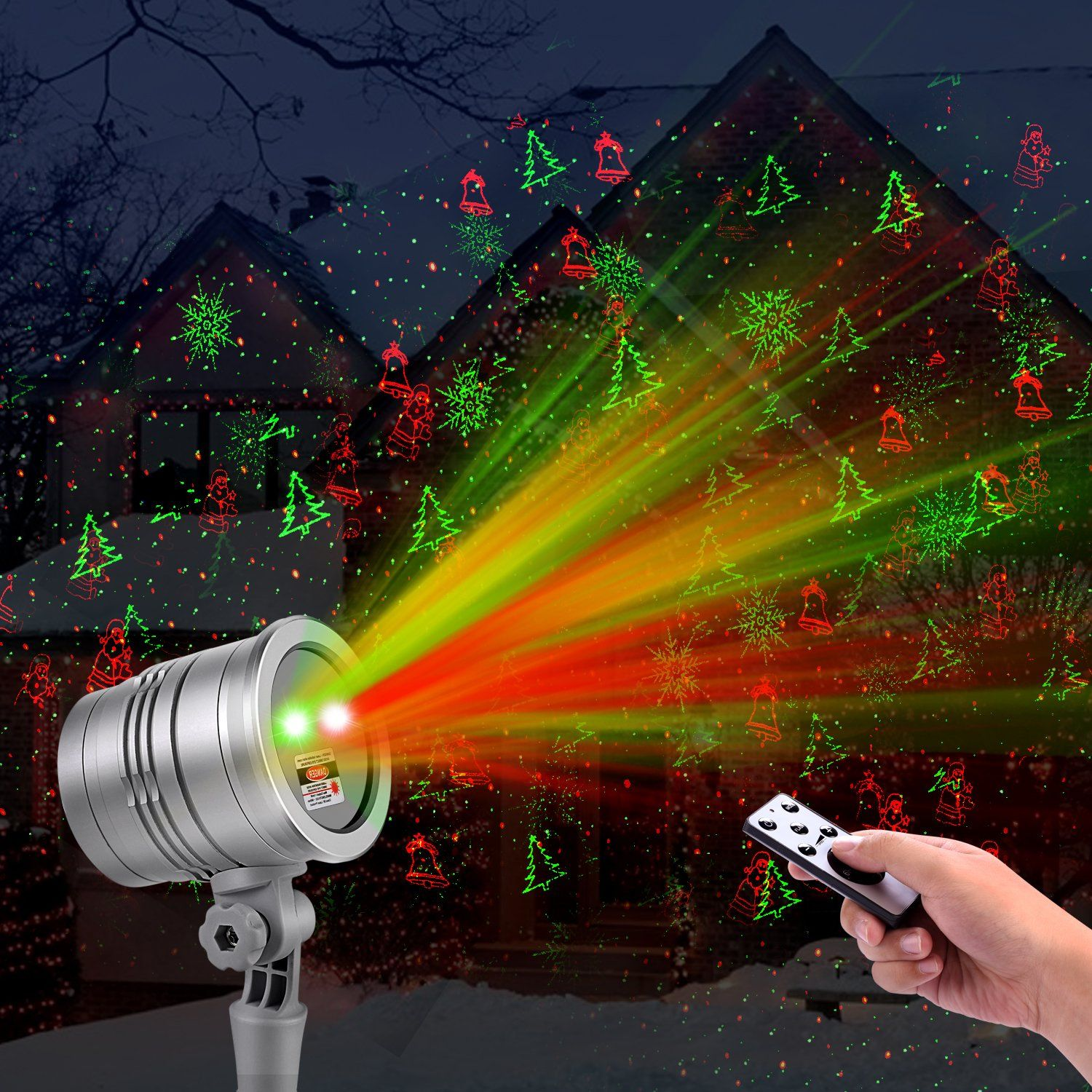 Christmas Laser Lights Outdoor Projector By Cars Snowflake Jingling Bell Xmas