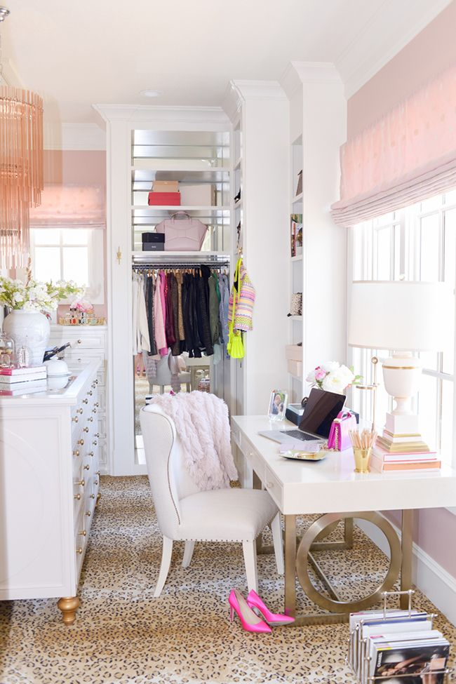Pink Peonies Office Dressing Room With Leopard Print Rug