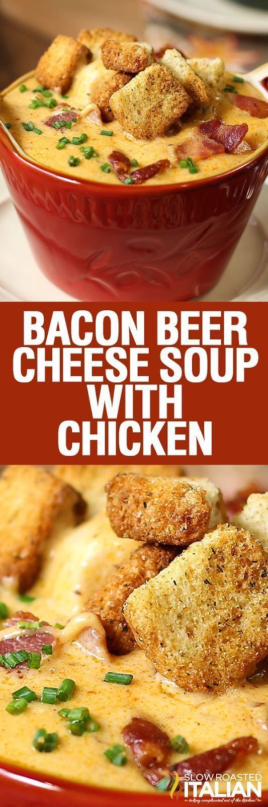 Minute Bacon Beer Cheese Soup with Chicken is one of our all time most popular recipes and for good reason. BACON.BEER.