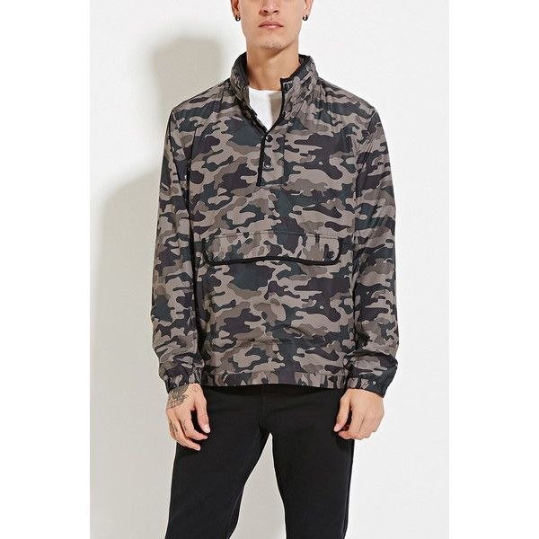 Forever 21 Men's  Camo Print Windbreaker ($28) ❤ liked on Polyvore featuring men's fashion, men's clothing, mens clothing, forever 21 mens clothing and mens apparel