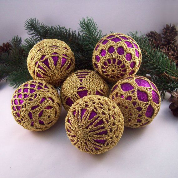 purple gold christmas baubles tree decorations by drapedinlace