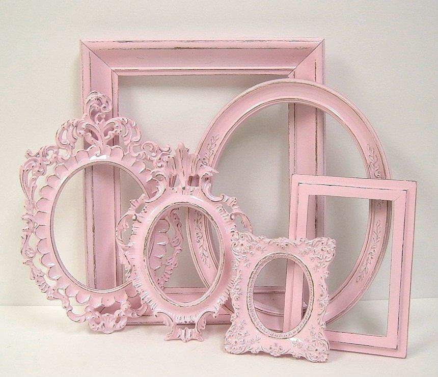 Picture Frames Shabby Chic Frame Set Ornate Frames Gallery Wall Pink ...