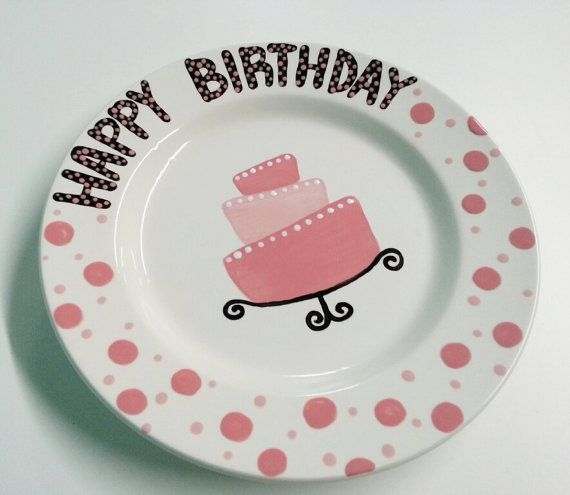 Hand Painted Ceramic Happy Birthday Plate 10 by BrushfireStudio $20.00  sc 1 st  Pinterest & Hand Painted Ceramic Happy Birthday Plate 10 by BrushfireStudio ...