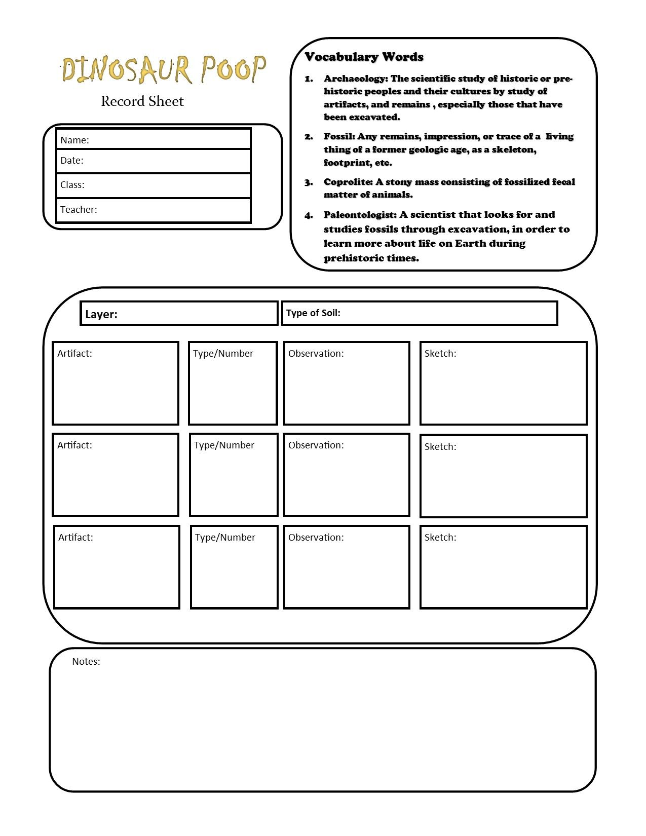 Paleontology And Archaeology Lesson Plan Free