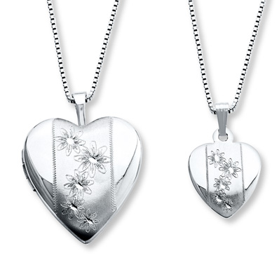 Mother Daughter Necklaces Heart With Flowers Sterling
