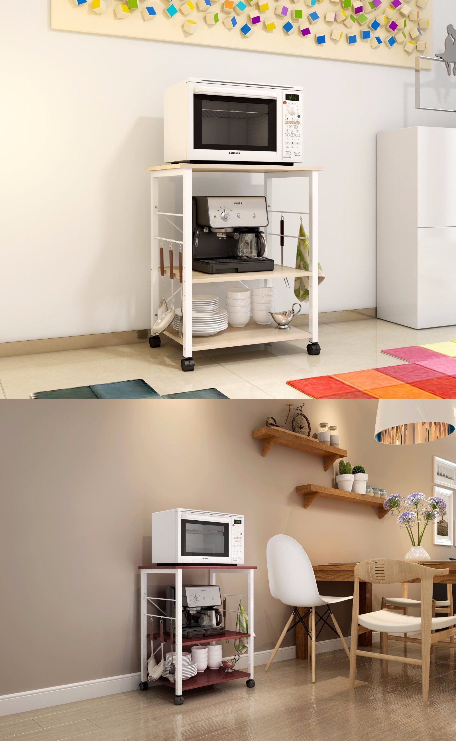 Details About 3 Tier 24 Microwave Stand Storage Kitchen Baker S
