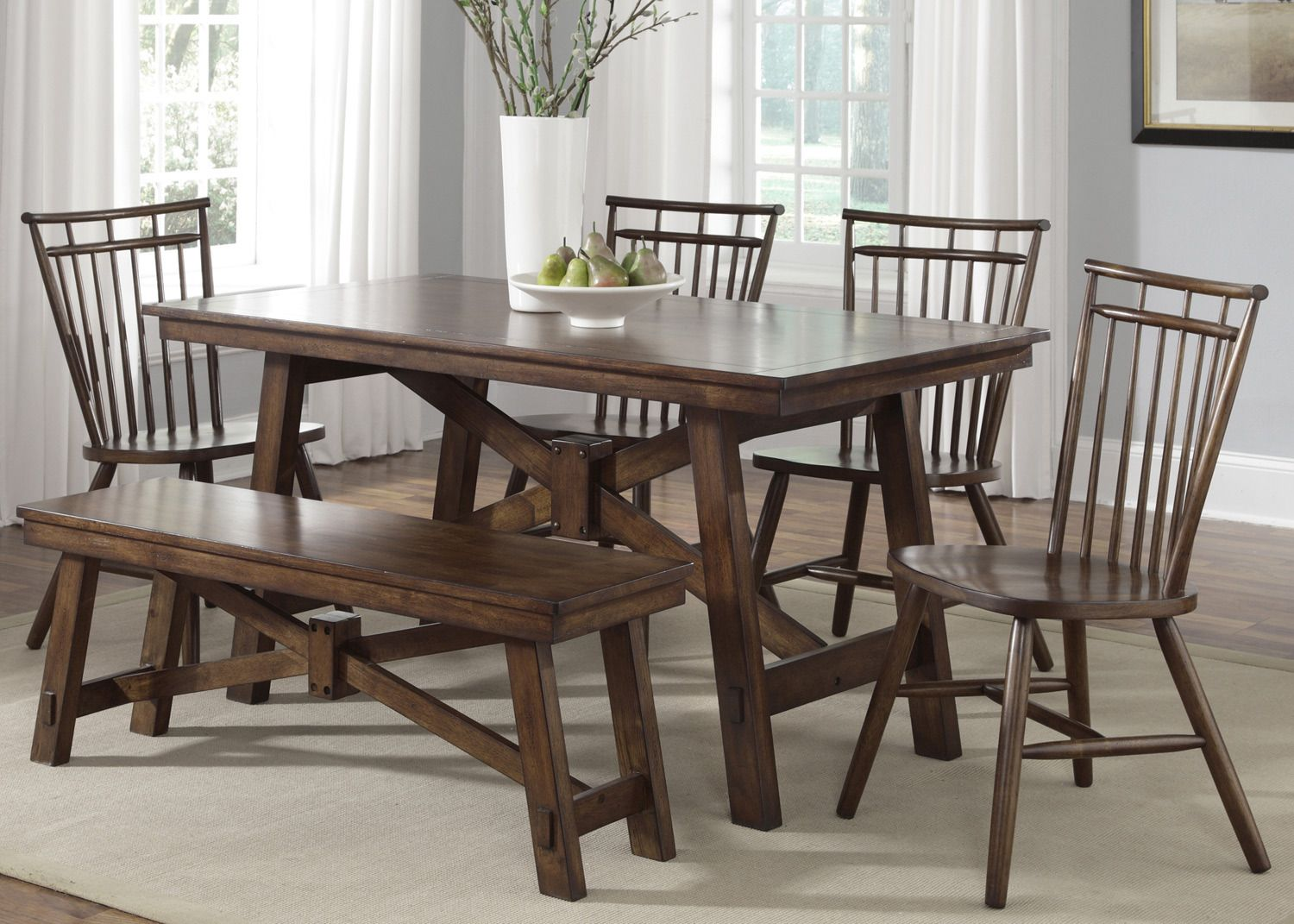 Creations Ii Rectangular Trestle Leg Table Dining Room Set